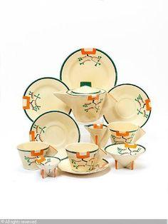 'Ravel' part tea set, ca1910, Clarice Cliff