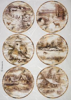 GBP - Rice Paper For Decoupage Decopatchscrapbook Craft Sheet Landscape With Snow & Garden Rice Paper Decoupage, Decoupage Vintage, Decoupage Paper, Christmas Decoupage, Christmas Tag, Christmas Crafts, Christmas Decorations, Christmas Ornaments, Vintage Christmas Images