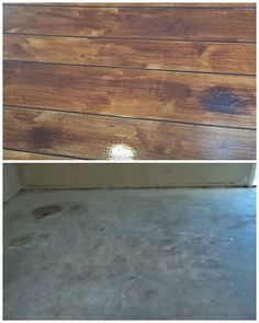 How to Make a Concrete Floor Look Like Hardwood Flooring I love this! I have concrete floors in my basement furnace room and wash rooms. I have been looking at laminate flooring but that is just way out of our budget right now! Also laminate will tear c Painted Concrete Floors, Painting Concrete, Stained Concrete, Diy Concrete, Concrete Countertops, Concrete Wood Floor, Concrete Staining, Stencil Concrete, Pattern Concrete