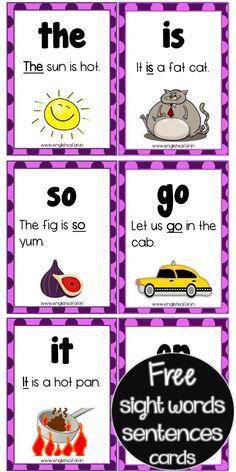 sight words sentences FREE www.worksheetsenglish.com
