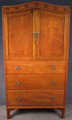 1920s Continental Carved Oak Tall Boy / Cabinet / Cupboard On Chest #Continental #TallBoyCabinetCupboardOnChest
