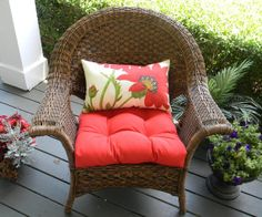 """Indoor / Outdoor 22"""" Universal Wicker Cushion and Rectangle / Lumbar Pillow Set - Pottery Barn Red Poppy Flower Pillow & Solid Red Cushion by PillowsCushionsOhMy, $69.96 Outdoor Chairs, Indoor Outdoor, Outdoor Furniture, Outdoor Decor, Pillow Set, Lumbar Pillow, Red Cushions, Flower Pillow, Red Barns"""