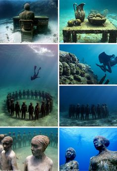 Se trata de un museo subacuático en Cancún, México. Es un atractivo turístico que vale la pena visitar en su vida. Es extraordinario! No es demasiado profundo en el agua para que puedas ver muchas estructuras de cierre.