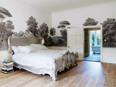 Trend Alert: Panoramic Murals // Bedroom With Panorama Mural Wallpaper and Silver Baroque Bed