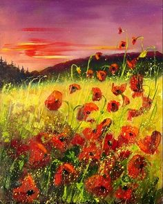"Saatchi+Online+Artist+Pol+Ledent;+Painting,+""Red+poppies+at+sunset""+#art"