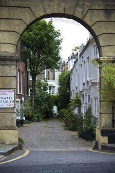Mews cottages in Kensington, England.