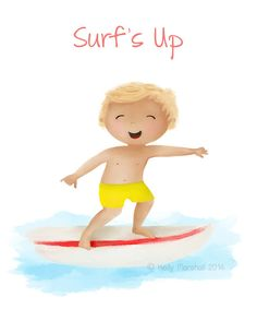 - Surf's Up - Children's Art Print by Sweet Cheeks Images. $12.00 AUD