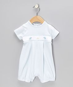 Take a look at this Blue Elephant Smocked Romper - Infant by Hug Me First on #zulily today! $33.99