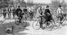 """An illustration of """"tourists riding bicycles"""" by A.B. Frost, circa 1896   Courtesy Library of Congres"""