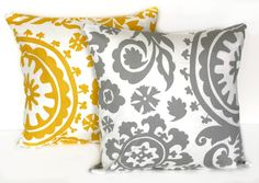 PICK 2 FABRICS - 2 Decorative Pillow Covers - THROW Pillows - 16 x 16 inches- Yellow and Gray. $28.00, via Etsy.