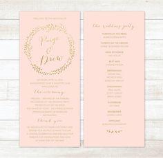 pink gold wedding program blush pink gold by pinkdahliaprintable