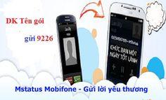 Với Mstatus Mobifone, bạn sẽ gửi thông điệp tự soạn hiện lên màn hình điện thoại di động của người gọi đến hoặc người nhận cuộc gọi một cách thú vị, trao đổi thông điệp với nhau một cách dễ dàng của dịch vụ siêu hấp dẫn.