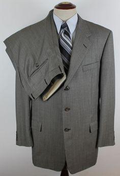 Hickey Freeman Loro Piana Suit 2 Piece 120s Gray Jacket 46L Pants 38L  x 32W #HickeyFreeman #ThreeButton