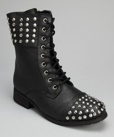 Loving this Black & Silver Stud Boot - Women on #zulily! #zulilyfinds