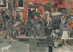 The Dove | collage (cut-and-pasted photo reproductions and papers,   gouache, pencil and colored pencil on cardboard), 1964 | by Romare Bearden