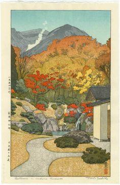 TOSHI YOSHIDA Japanese Woodblock Print AUTUMN IN HAKONE 1954