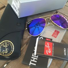 Ray Ban Polarized Aviator Purple/Blue With gold matte frame - size 58 brand new comes with everything in photo :) Ray-Ban Accessories Sunglasses