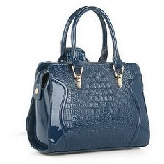 Betterlife Women's Crocodile Satchel Style Handbags Pu Leather Size Medium Color Navy Blue: Handbags: Amazon.com