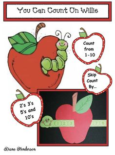 "Free Apple Craft: ""You Can Count On Willie!"" A Wormy Apple Math Craftivity Alphabet Worksheets, Alphabet Activities, Math Activities, Alphabet Posters, Alphabet Crafts, Teacher Freebies, Classroom Freebies, Classroom Ideas, Counting In 2s"