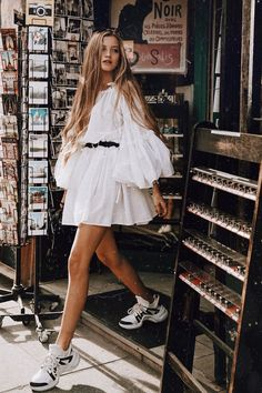 In A Search For A Perfect White Dress For Summer - White Dresses - Ideas of White Dresses - white summer dress with sleeves # boho Outfits Dress For Summer, Summer Dresses With Sleeves, Summer Outfit, White Summer Dresses, Summer Dresses For Girls, Summer City Outfits, Outfits Spring, Sneakers Outfit Summer, Summer Ootd