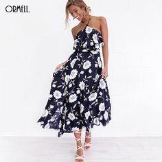 ORMELL Floral Print Halter 2017 Summer Dress Women Spring High Split Beach Long Dress Sexy Backless Maxi Dress Female Vestidos