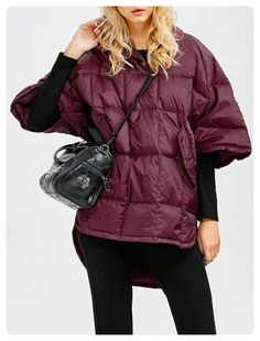 High Low Oversized Down Coat (Wine red)