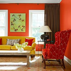 Red: High Intensity: love the pattern and color of the chair