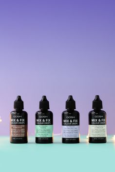 A beauty product photograph of the new GOSH Mix & Fix Colour Drops. On The Makeup Directory.