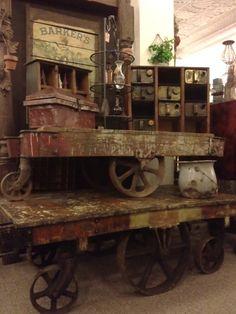 Prim Treasures...old weathered & rusty carts...at urbanmining in Kansas City.