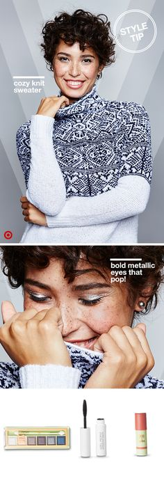 Get noticed with a new winter look you'll love. Start by layering on the warmth with a cozy, knit funnel-neck sweater from Merona. Featuring a vibrant blue and white Fair Isle pattern, it'll quickly become your chilly weather go-to. Then, add a little sparkle to your holiday makeup. Sweep a shimmery metallic eyeshadow across the eye with Pixi's mesmerizing mineral palette Silver Sky, then add a coat or two of mascara. Finish the look with Pixi's Multibalm in Baby Petal.