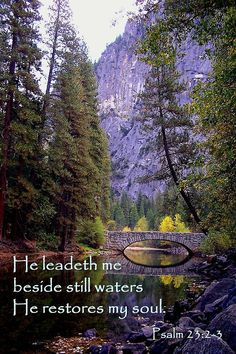 """He maketh me to lie down in green pastures: he leadeth me beside the still waters. He restoreth my soul: he leadeth me in the paths of righteousness for his name's sake. Bible Verses Quotes, Bible Scriptures, Faith Quotes, Healing Scriptures, Heart Quotes, Scripture Crafts, Scripture Canvas, Scripture Images, Tree Quotes"