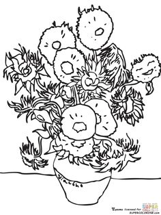 Vincent Van Gogh Coloring pages. Select from 32014 printable Coloring pages of cartoons, animals, nature, Bible and many more. Sunflower Coloring Pages, Animal Coloring Pages, Coloring Book Pages, Coloring Sheets, Vincent Van Gogh, Van Gogh Tatuaje, Desenhos Van Gogh, Van Gogh Tattoo, Arte Yin Yang