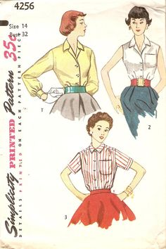 Misses 1950s Blouse Pattern Set of Blouses by CherryCorners, $7.00