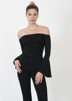 2163e696e4 SOFTB. Black top with long flutter sleeves