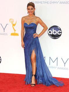Maria Menounos in Oliver Tolentino #Emmys #RedCarpet
