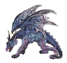 """5.25"""" Blue and Purple Dragon Fantasy Statue Collectible Decorative Figurine"""