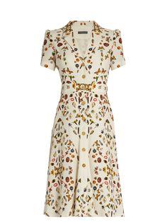Alexander McQueen Obsession-print button-down crepe dress Silk Midi Dress, Crepe Dress, Silk Crepe, Boho Fashion, Fashion Dresses, Vintage Fashion, Vintage Dresses, Vintage Outfits, Tea Dresses