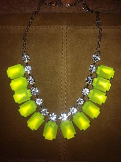 It is my duty to let you in on a little secret just in case you didn't already know. Pam with ColorBlock Shop on Etsy is down to her last . Vintage Style, Vintage Fashion, Rhinestone Necklace, Vintage Rhinestone, Neon Yellow, Just In Case, Color Blocking, Rhinestones, Happiness