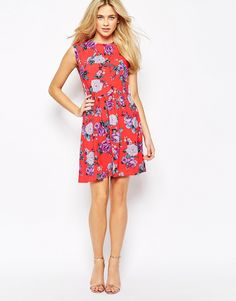 Image 4 of Oasis Rose Print Skater Dress