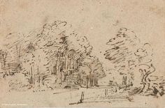 National Gallery on Sketch by Rembrandt Fine Art Drawing, Painting & Drawing, Art Drawings, Landscape Drawings, Landscape Prints, Rembrandt Drawings, Plant Sketches, Dutch Golden Age, Dutch Painters