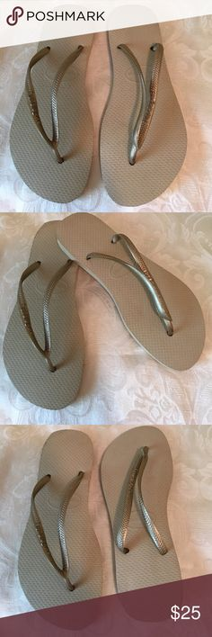 New Havaianas Gold Rubber Flip Flops Shoes 39-40 Size 39-40 New Havaianas Beige Gold Rubber Flip Flops Shoes. Flats new without Box. Havaianas Shoes Sandals