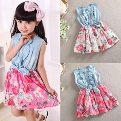 Fashion Family Matching Women Girl Mother and Daughter Floral Dresses Outfits US Mom Dress, Dress With Bow, Tween Fashion, Unique Fashion, Floral Dress Outfits, Cute Princess, Floral Denim, Mini Vestidos, Kids Girls
