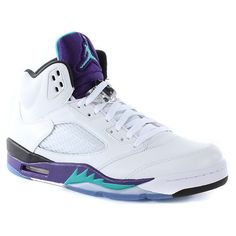 8b66a2307f8c2 Nike Air Jordan 5 Retro White Grape ( 210) ❤ liked on Polyvore featuring  shoes and jordans