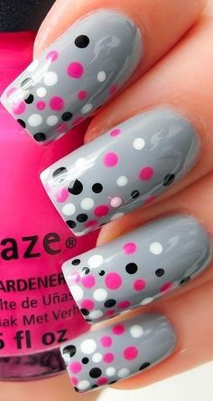 Try some of these designs and give your nails a quick makeover, gallery of unique nail art designs for any season. The best images and creative ideas for your nails. Fancy Nails, Diy Nails, Pretty Nails, Gel Manicure, Dot Nail Art, Polka Dot Nails, Polka Dots, Gray Nail Art, Gel Nail Art Designs