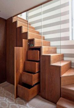 Furniture, Wood Stairs With Drawers Glass And Stripe Wall: Under Stairs Storage Design Ideas that Make Your House Keep Simple Staircase Storage, Staircase Design, Modern Staircase, Storage Under Staircase, Staircase Glass, Stair Design, Curved Staircase, Glass Railing, Under Staircase Ideas