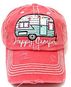 "Coral ""Happy Camper"" Embroidery Distressed Vintage Cap"