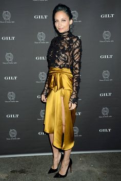 Nicole Richie - Marchesa skirt and lace top