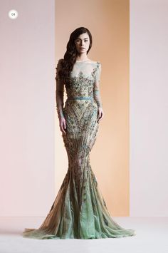 Evening Dresses Wholesale Ziad Nakad 2014 Sexy Evening Gowns Mermaid Bateau Lace Beads Sequins Appliques Sash See Through Long Sleeve Sweep Train Formal Prom Dresses Evening Maternity Dress From Gracedressonline, $337.33| Dhgate.Com