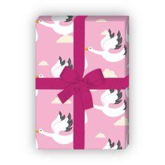 Baby Geschenkpapier mit Störchen, rosa (4 Bögen, 32 x 47,5 cm) 1