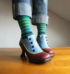 Funky Shoes, Crazy Shoes, Weird Shoes, Casual Heels, Casual Boots, Purple Ankle Boots, Shoe Vamp, Orange Shoes, Ankle Heels